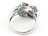 Blue Neon Apatite Sterling Silver Ring. 1.93ctw