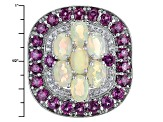 Multicolor Opal Sterling Silver Ring 4.61ctw