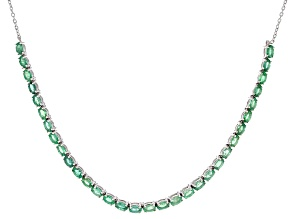 Green Zambian Emerald Rhodium Over Sterling Silver Necklace 6.59ctw