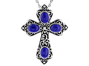 Blue Lapis Sterling Silver Cross Pendant With Chain