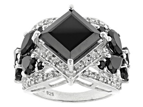 Black Spinel Sterling Silver Ring 9.89ctw
