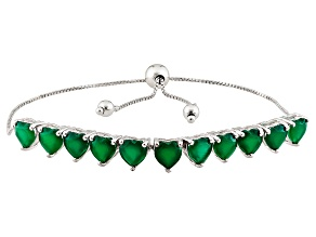 Green Onyx Sterling Silver Heart Shape Sliding Adjustable Bracelet