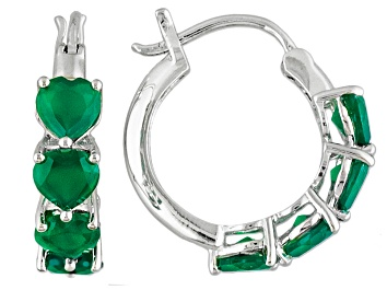 Picture of Green Onyx Sterling Silver Heart Shape Hoop Earrings