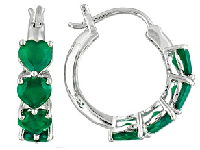 Green Onyx Sterling Silver Heart Shape Hoop Earrings