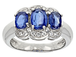 Blue Kyanite And White Zircon Sterling Silver Ring. 2.53ctw