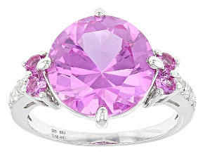 Pink Lab Created Sapphire Sterling Silver Ring 6.68ctw