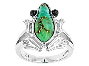 Green Turquoise Rhodium Over Sterling Silver Frog Ring .20ctw