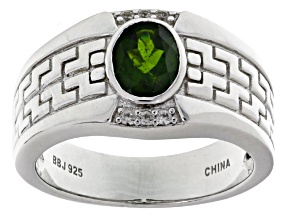 Green Chrome Diopside Sterling Silver Ring. 1.40ctw