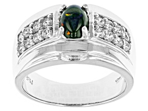 Black Ethiopian Opal Sterling Silver Gents Ring 1.23ctw