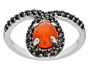 Orange Ethiopian Opal Sterling Silver Ring 1.24ctw