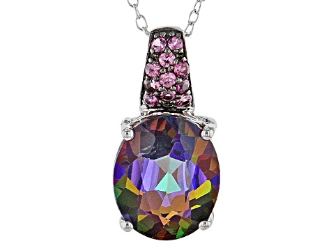 Multicolor Topaz Sterling Silver Pendant With Chain 5.09ctw