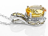 Yellow Citrine Sterling Silver Pendant With Chain 2.52ctw