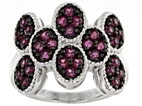 Raspberry Color Rhodolite Sterling Silver Ring. 1.33ctw