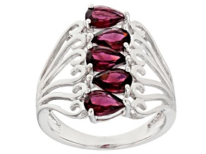 Raspberry Color Rhodolite Sterling Silver Ring. 2.38ctw