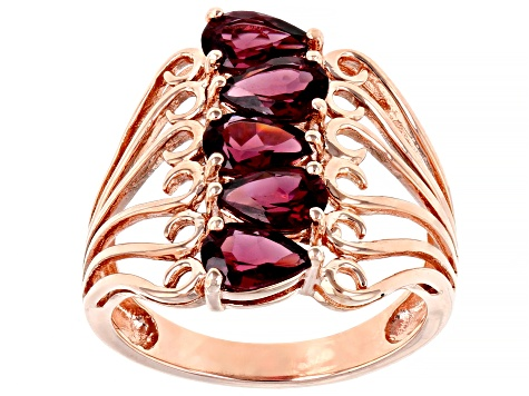 Purple rhodolite 18k rose gold over sterling silver ring 2.38ctw