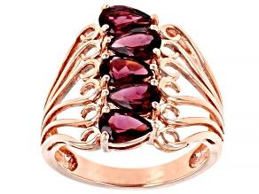 Purple rhodolite 18k rose gold over sterling silver ring 2.38ctw