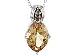 Brown Bolivian  Champagne Quartz Sterling Silver Pendant With Chain 3.43ctw
