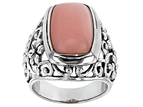 Pink Peruvian Opal Silver Solitaire Ring