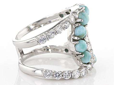 Blue Larimar Sterling Silver Ring 1.43ctw