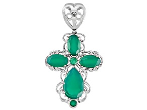 Green Onyx Rhodium Over Sterling Silver Enhancer