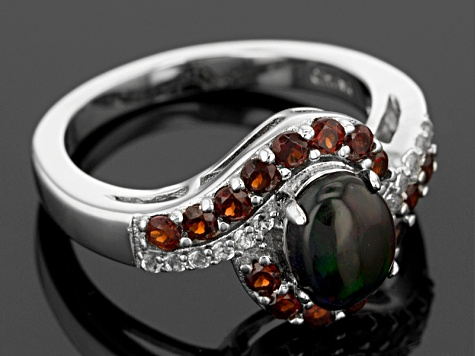 Black Ethiopian Opal Sterling Silver Ring. 1.38ctw