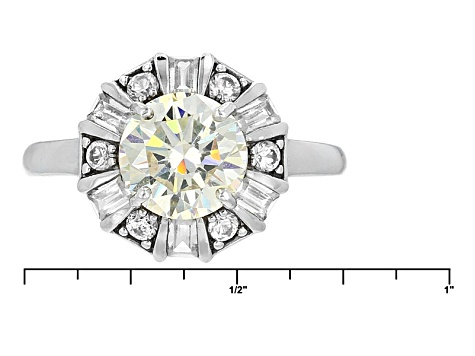 White Fabulite Strontium Titanate And White Zircon Rhodium Over Sterling Silver Ring 3.26ctw
