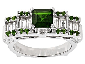 Green Chrome Diopside And White Zircon Sterling Silver Ring. 2.03ctw