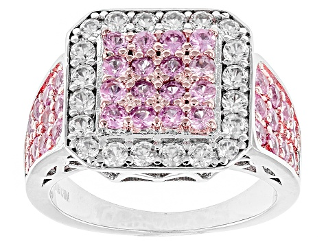 Pink Sapphire Sterling Silver Ring 2.15ctw