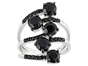 Black Spinel Sterling Silver Ring. 3.03ctw