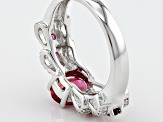 Red Lab Created Bixbite Sterling Silver Ring 1.64ctw