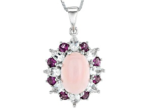 Pink Peruvian Opal Sterling Silver Pendant With Chain 2.72ctw