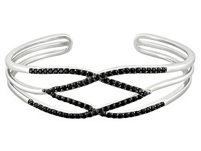 Black Spinel Sterling Silver Cuff Bracelet 3.07ctw
