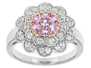Pink Sapphire Sterling Silver Two Tone Ring .88ctw