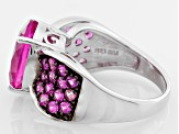 Pink Lab Created Sapphire Sterling Silver Ring 6.08ctw