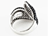 Black Spinel Sterling Silver Bypass Ring 1.81ctw
