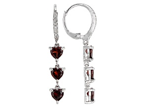 Red Garnet Rhodium Over Sterling Silver Dangle Earrings .53ctw