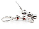 Red Garnet And White Topaz Sterling Silver Dangle Earrings .53ctw