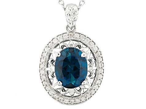 London Blue Topaz Sterling Silver Pendant With Chain 2.93ctw