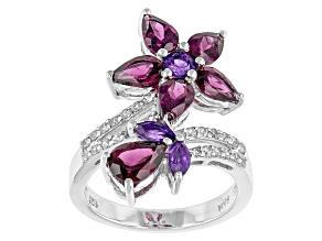 Purple Rhodolite Sterling Silver Ring. 4.01ctw
