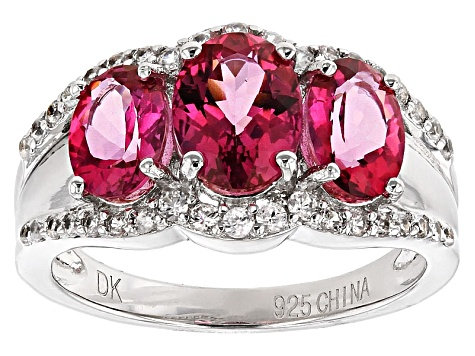 Pink Danburite And White Zircon Sterling Silver Ring. 2.67ctw