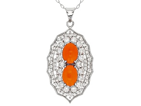 Orange Ethiopian Opal Sterling Silver Pendant With Chain Ctw