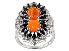 Orange Ethiopian Opal Sterling Silver Ring 2.52ctw