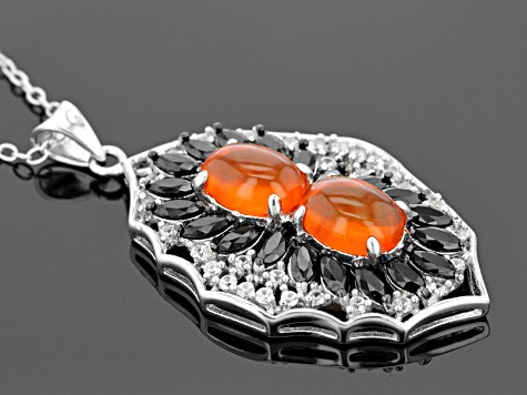 Orange Ethiopian Opal Sterling Silver Pendant With Chain 2.40ctw