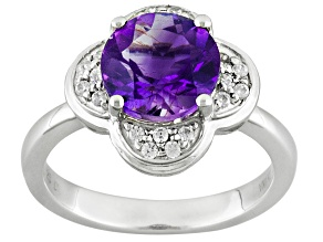 Purple Amethyst Sterling Silver Ring 1.42ctw