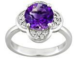 Purple Amethyst Sterling Silver Ring 1.42ctw