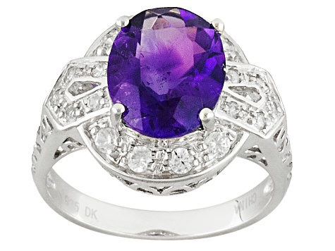 Purple Amethyst Sterling Silver Ring 2.12ctw