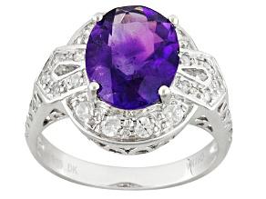 Purple Amethyst Sterling Silver Ring 2.12ctw