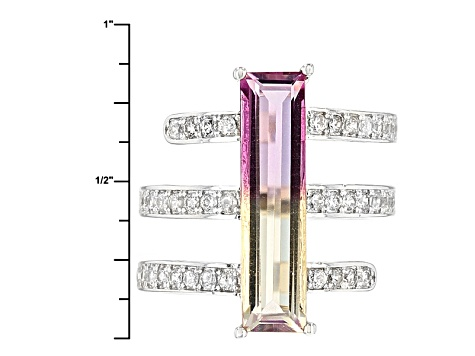 Purple And Yellow Bi-Color Quartz And White Zircon Sterling Silver Ring 3.90ctw
