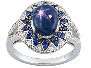 Blue Star Sapphire Sterling Silver Ring 3.19ctw