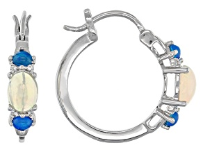 Ethiopian Opal Sterling Silver Hoop Earrings2.06ctw